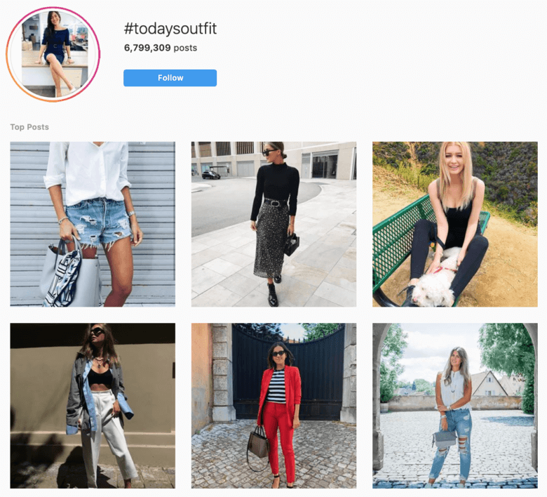 hashtags de mode