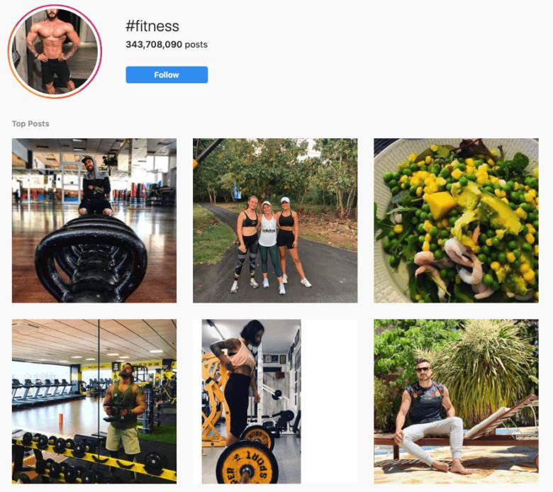 #Fitness Hashtag Instagram Capture d'écran