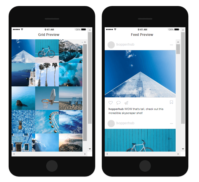 Grid preview for planning an instagram feed