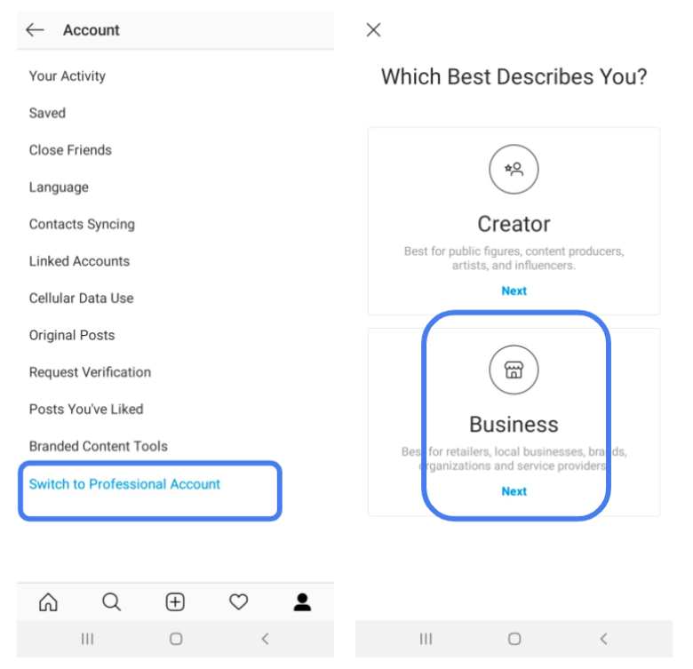 Setting up an Instagram Business profile
