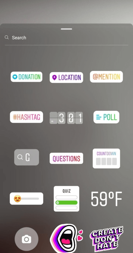 Instagram Stories sticker selection