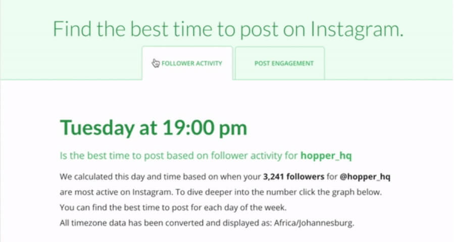 Best Time To Post On Instagram - Free Tool Screenshot