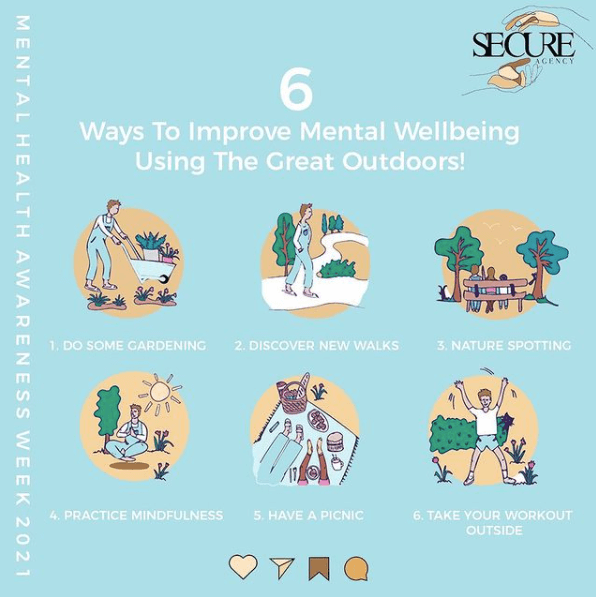6 way to improve mental wellbeing using the great outdoors. (1) do some gardening. (2) Discover new walks. (3) Nature spotting. (4) Practice mindfulness. (5) Have a picnic. (6) Take your workout outside.